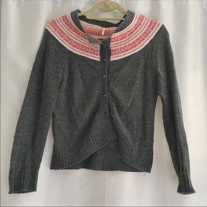 Free People grey and rose Fair Isle sweater